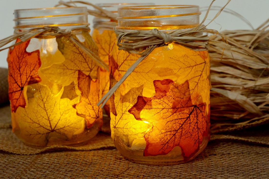 Jar with leaves and lights