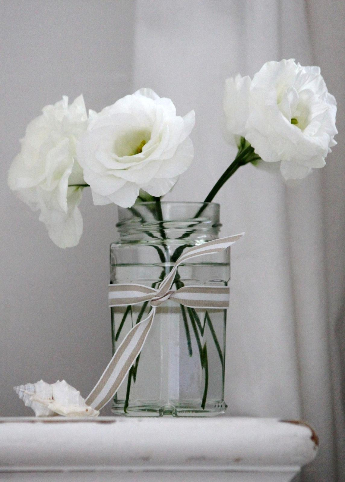 White Flowers in Jar